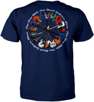 The One with the Most Guitars Wins T-shirt - Navy Blue