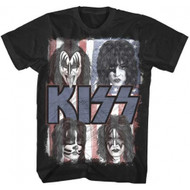Kiss Red White and Blue Faces Adult T-Shirt