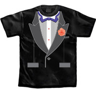 Tuxedo T-shirt Purple Bow Tie with Rhinestones