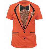 Retro Prom Orange Tux Tuxedo Adult T-shirt
