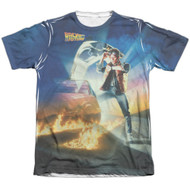 Back To The Future Movie Poster Vintage Feel Sublimation Print T-shirt