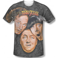 The Three Stooges Larry Moe Curly Vintage Feel Sublimation Print T-shirt