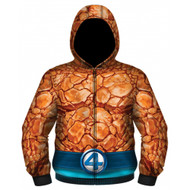 Marvel Comics Fantastic Four The Thing Sublimated Costume Adult Zip Up Hooded Fleece