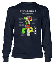 Minecraft Creeper Anatomy Long Sleeve Youth T Shirt