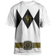 Power Rangers Mighty Fine Ranger Costume Adult White T-Shirt
