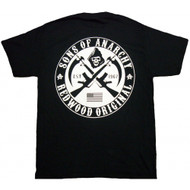 Sons of Anarchy Black & White Crossed Logo Adult T-Shirt