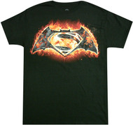 Batman Vs Superman - Fire Symbol Adult T-Shirt