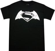 Batman VS Superman - White Distressed Movie Logo Adult T-Shirt