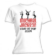 Michael Jackson - Graffiti Juniors Babydoll White T-Shirt