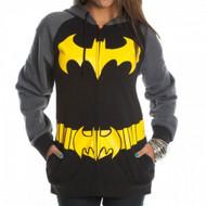 DC Comics Batman Logo Juniors Zipper-Fleece Hoody Hooded Sweatshirt