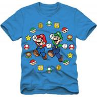Super Mario Bros Mario and Luigi Pose Boys Youth Blue T-shirt