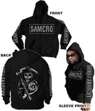Sons of Anarchy Samcro Logo 4 Print Adult Zip Up Hoodie Sweatshirt