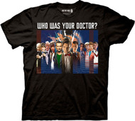 Doctor Who Black T-shirt- Who was Your Doctor?