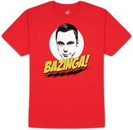 The Big Bang Theory Bazinga with Sheldon Red Adult T-shirt