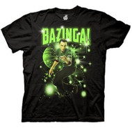 The Big Bang Theory Sheldon Glowing Bazinga Stars Adult Black T-shirt