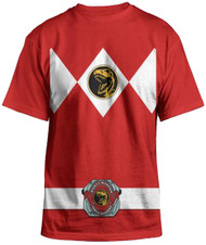 Power Rangers Mighty Fine Ranger Costume Adult Red T-Shirt