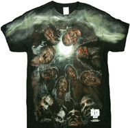 The Walking Dead Walkers In A Huddle Zombies Under the Moon Adult T-Shirt