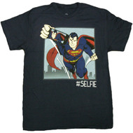 Superman Taking A Selfie Flying Superman Picture Image Adult T-Shirt