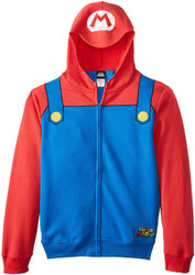 Nintendo Mario Brothers Bill Red Zip-Up Adult Costume Hoodie