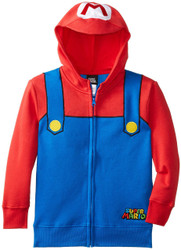 Nintendo Mario Brothers Bill Red Zip-Up Youth Costume Hoodie