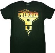 AMC Preacher Cross Upside Down Church Clouds & Sunset Adult T-Shirt