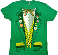 Saint St. Paddy's Green Leprechaun Suit With Gold Costume Adult T-Shirt