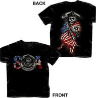 Sons of Anarchy Reaper Colored USA Flag T-shirt