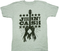 Johnny Cash Woodcut Guitar Adult T-Shirt
