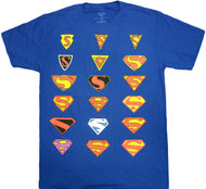 DC Comics Superman Man of Steel Logo History Evolution of the Logo Adult T-Shirt