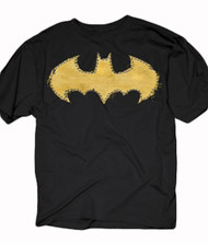 DC Comics Batman Frayed Yellow Logo Adult T-Shirt