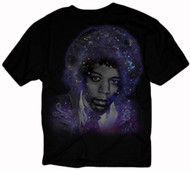 Jimi Hendrix Deep Galaxy Face Juniors T-Shirt