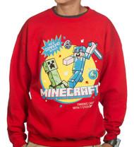 Minecraft Vintage Trading Card Crew Youth Fleece Sweatshirt