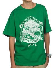 Minecraft Overworld linocut Print Youth T-Shirt