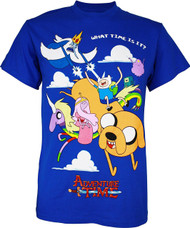 Adventure Time Group in Clouds Adult T-Shirt