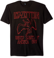 Led Zeppelin USA 1977 Red Lettering Adult T-Shirt