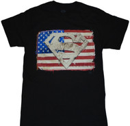Superman American Flag And Faux Applique Patch Adult T-Shirt