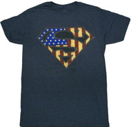 Superman American Faux Embroidery Adult T-Shirt