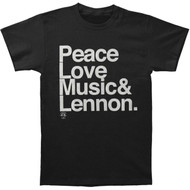 John Lennon Ampersand Peace Love Music & Lennon Adult T-Shirt