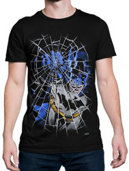Batman Punching Shattered Glass Adult T-Shirt