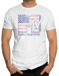 MTV Doodle Flag Logo Adult T-Shirt