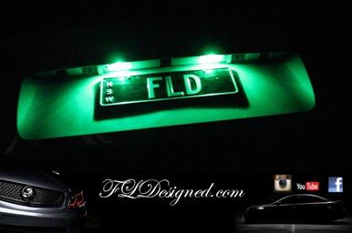 Holden Ve Green L.E.D Number Plate Lights to suite all Ve Models including HSV maloo, clubsport, gts