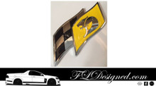 Hsv Replica Yellow / Chrome Flag Badge