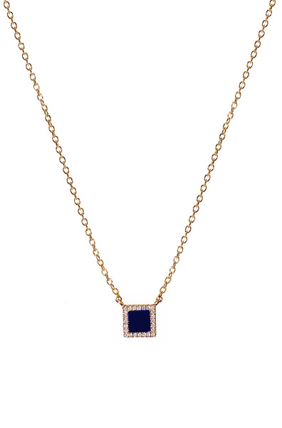 Diamond lapis small square necklace