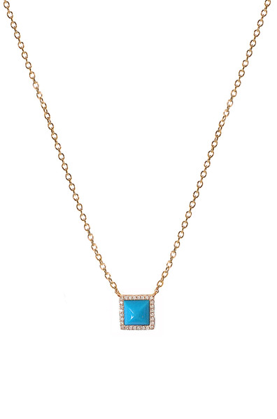 Diamond turquoise pyramid square necklace