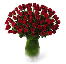Premium Six Dozen Red Rose Flower Arrangement