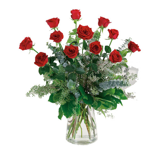 Botanical Dozen Red Rose Flower Arrangement Bouquet