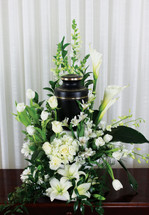 Loved and Missed Urn Flower Arrangement With White Roses