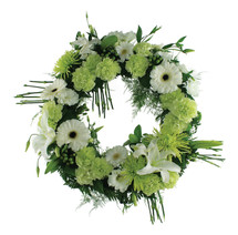 Green Garden Memorial Wreath Sympathy Flower Arrangement