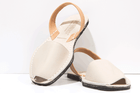 White and tan Menorcan Sandals by Solillas