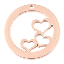 Design Washer Hearts - 18ct ROSE Plated - Stainless Steel